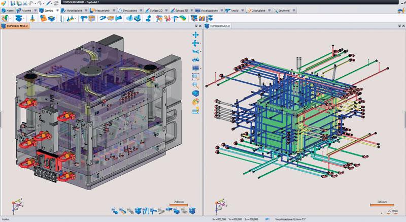 TopSolid'Mold propone una libreria di migliaia di componenti parametrici specifica per il settore stampi.
