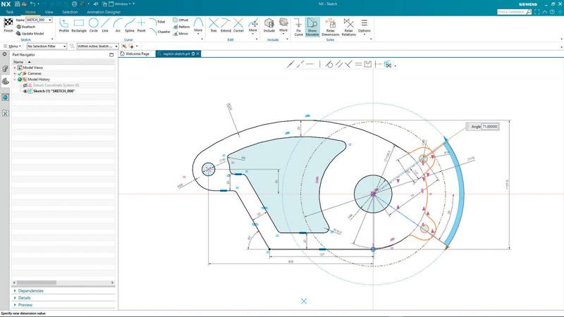 NX Sketch permette di disegnare senza parametri predefiniti, intento progettuale e relazioni.