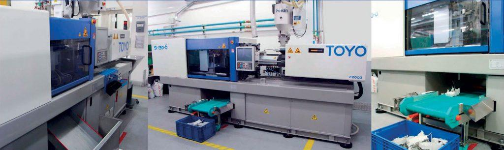 Nel reparto produzione di Valid Plastic sono presenti sedici presse ad iniezione.