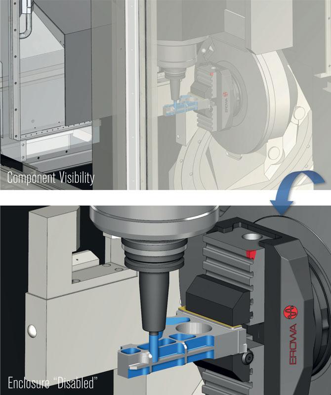 Elemento macchina impostato Invisibile (sopra) e Disabilitato (sotto).