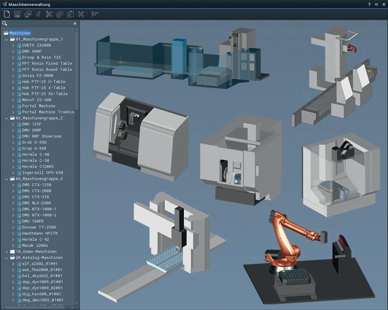 La libreria macchina Tebis contiene più di 800 modelli virtuali di macchina in oltre 3.000 varianti, incluse le machine multiasse quali ad esempio torni-fresa e torni multimandrino.