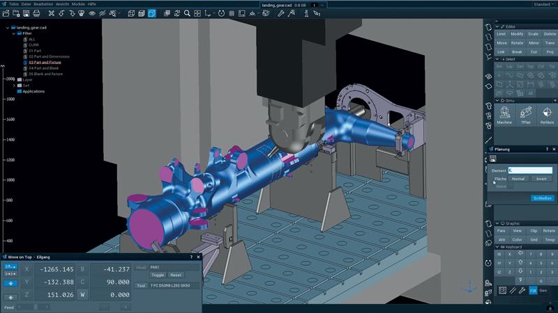 Tebis consente di replicare fedelmente in ambiente digitale tutte le risorse produttive: macchine, utensili, dispositivi di serraggio e componenti.