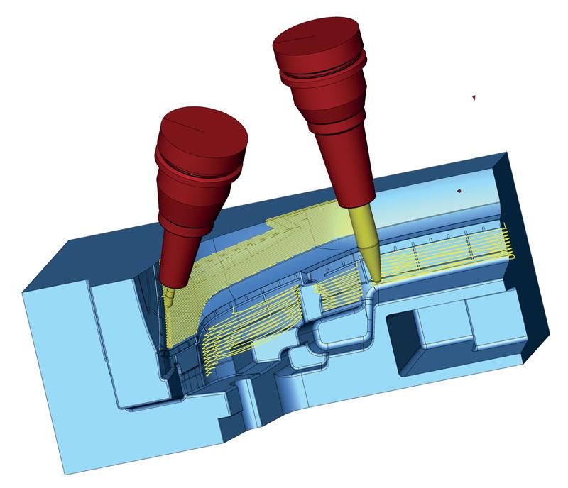 Il software hyperMILL® MAXX Machining di Open Mind permette di controllare in modo completamente automatico l'inclinazione della fresa istante per istante a seconda delle caratteristiche geometriche (per quanto complesse) della figura da fresare.