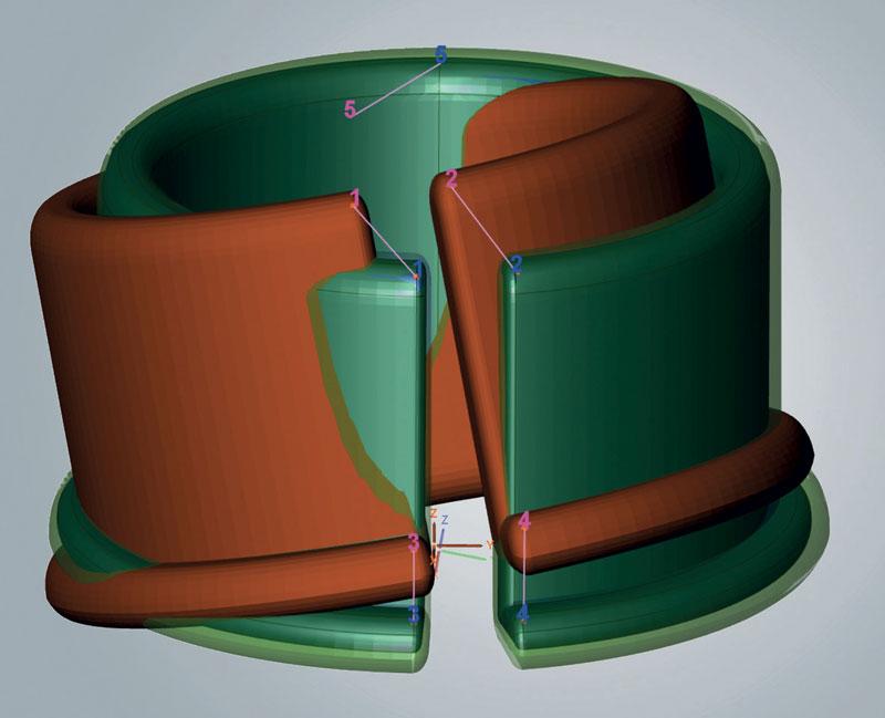 Il modello CAD del pezzo viene adattato in modo ottimale al modello mesh del grezzo.