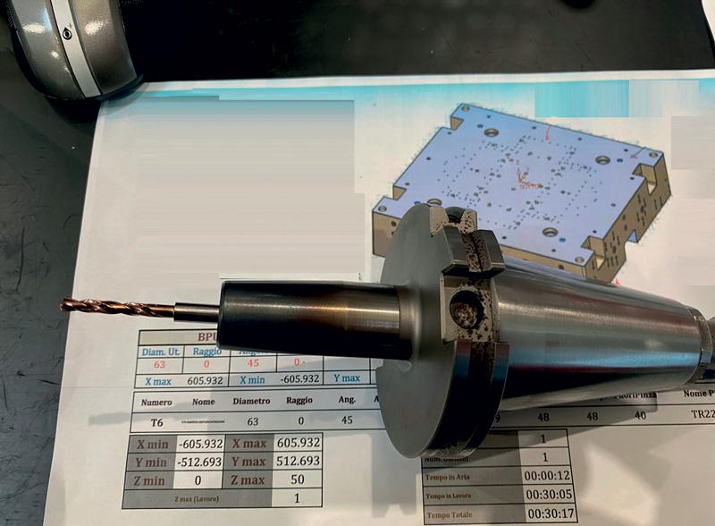 Punta pilota MOLDINO da 4,03 mm montata su mandrino a calettamento a caldo.