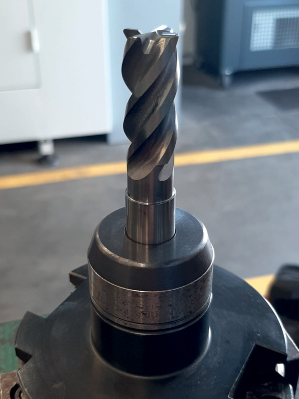 Fresa MOLDINO EPSM diametro 16 mm utilizzata per lavorazione in slotting, taglio piastra in 1.2311.