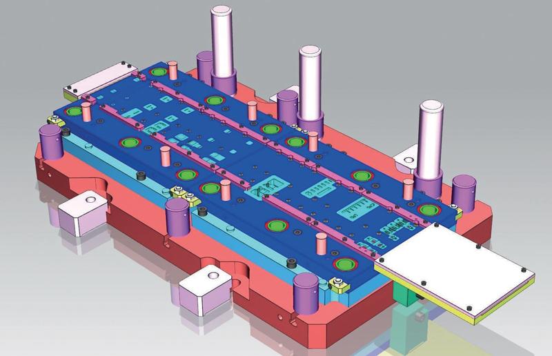 Stampo progressivo a struttura modulare per particolare da eseguire in doppia fase di formatura.