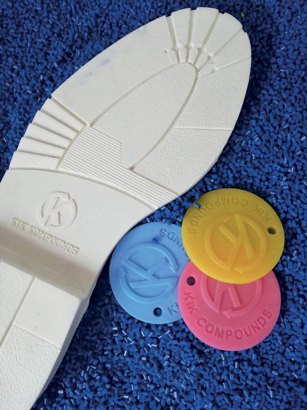Suola per scarpe in plastica biodegradabile.