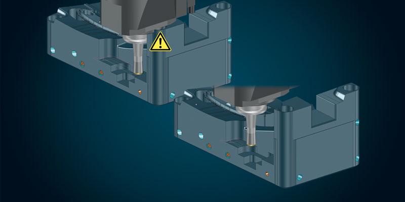 Eliminazione della collisione con la testa mediante riduzione automatica dell'area di fresatura.