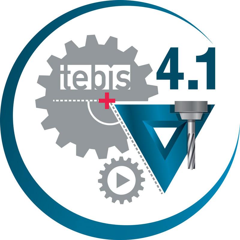 Il nuovo logo di Tebis 4.1, un software CAD/CAM completo basato su tecnologia parametrico-associativa che permette di eseguire con un solo sistema, in modo trasparente e altamente automatizzato, tutte le operazioni necessarie per la progettazione, la preparazione alla produzione e la programmazione CAM.
