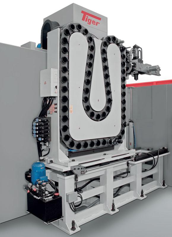 Le macchine della serie EVO possono essere equipaggiate con magazzino utensili a ruota o a catena fino a 60 posti.