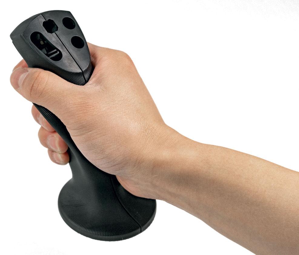 Joystick soggetto a carichi per beni di consumo/elettronica stampato in Figure 4 Tough 65C Black, per parti di produzione in grado di rimanere funzionali e ambientalmente stabili per anni.