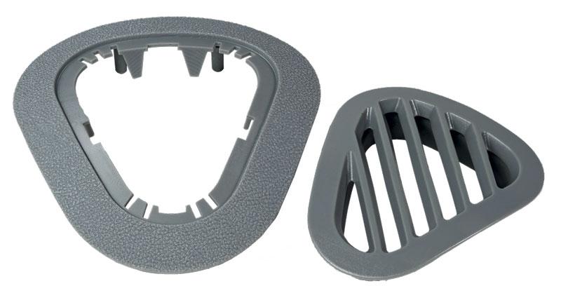 Presa d'aria per veicoli, rigida e di alta qualità, stampata in Figure 4 Rigid Gray, con prestazioni meccaniche e stabilità di lunga durata e trama superficiale paragonabile a quella delle plastiche stampate ad iniezione.