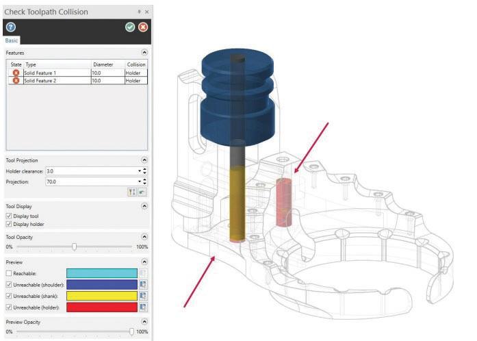 """La nuova funzione """"Controllo Collisioni"""" permette di determinare se è possibile lavorare il pezzo con una determinata combinazione di portautensile e utensile."""