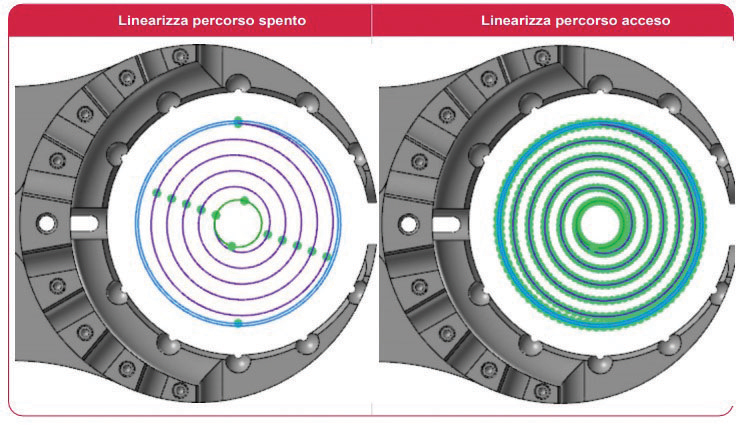 """x Con Mastercam 2022 è possibile linearizzare un percorso Fresatura Cerchi con la nuova opzione """"Percorso Utensile Linearizza""""."""