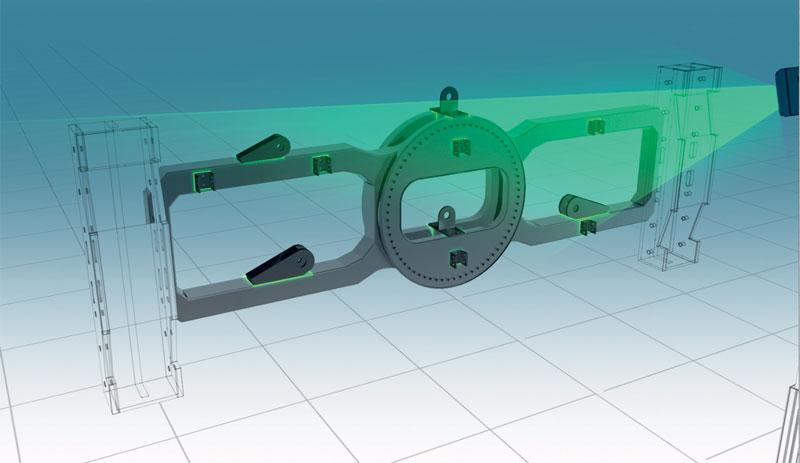 Utilizza le informazioni CAD 3D per proiettare immagini laser 3D su una superficie fisica e fornisce un template virtuale live.