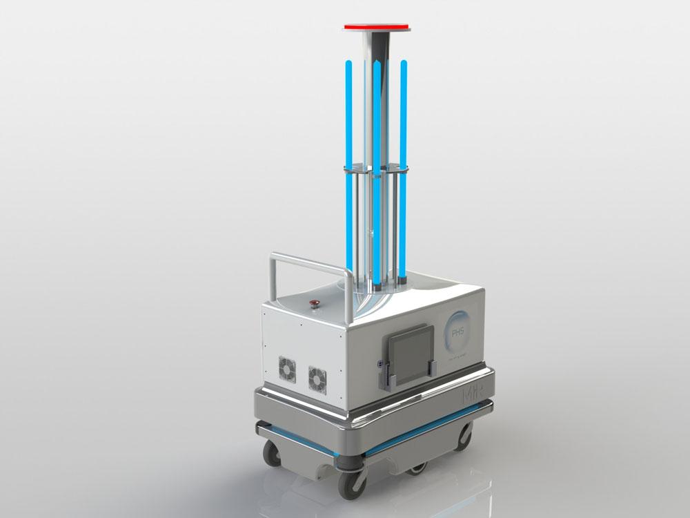 PHS-M mobile robot è la più recente tecnologia di sanificazione degli ambienti a raggi UV-C ad onda costante.
