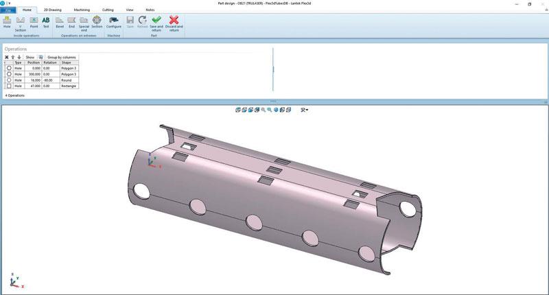 La nuova versione 40 di Lantek Flex3D incorpora un nuovo algoritmo che consente la distruzione degli sfridi generati dal taglio dei fori nei tubi.