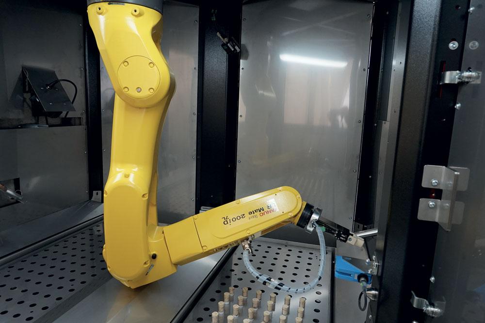 Nella cella Fanuc, il paziente deposita la provetta su uno scivolo e da lì parte il circolo automatico, che vede il robot prelevare il campione, verificare la coerenza del codice a barre, disporre ordinatamente sui vassoi le provette per essere ritirate successivamente dai tecnici di laboratorio.