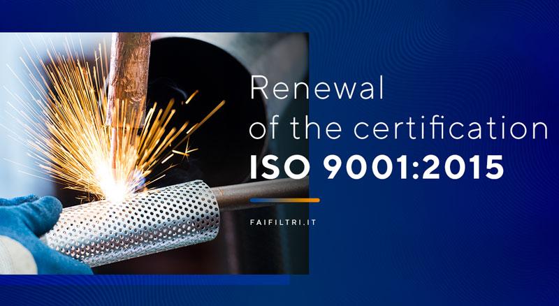 Rinnovata la certificazione ISO 9001:2015