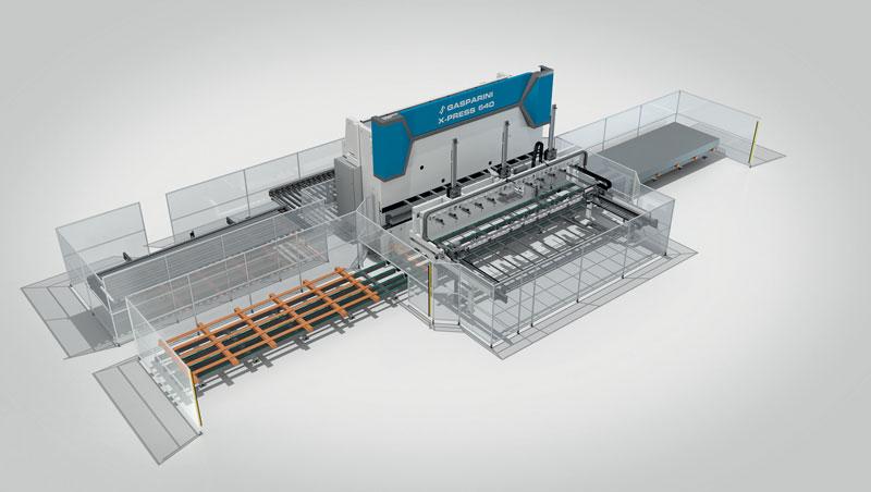 Un esempio di linea di piegatura automatizzata realizzata da Gasparini Industries.