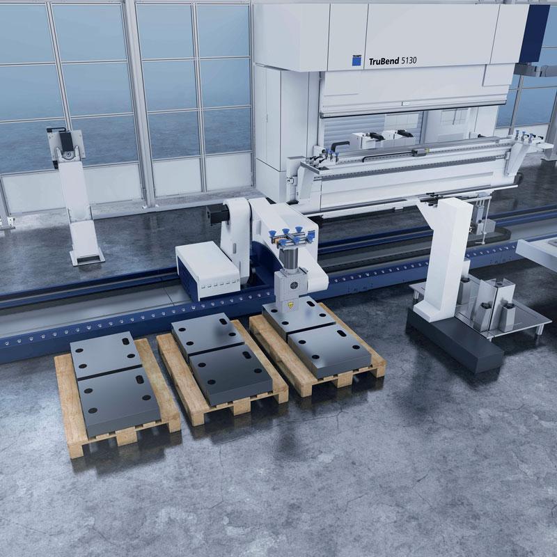 La TruBend Cell5000, nelle due varianti per pezzi fino a 60 kg e 150 kg può lavorare profili fino a 4 m di lunghezza e 2 m di larghezza.