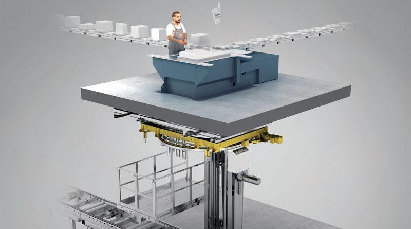 Nel sistema Winkel_Fast_Pick, la postazione è costituita da un banco di lavoro posto su un soppalco al di sotto del quale viene installato un anello di avvolgimento.