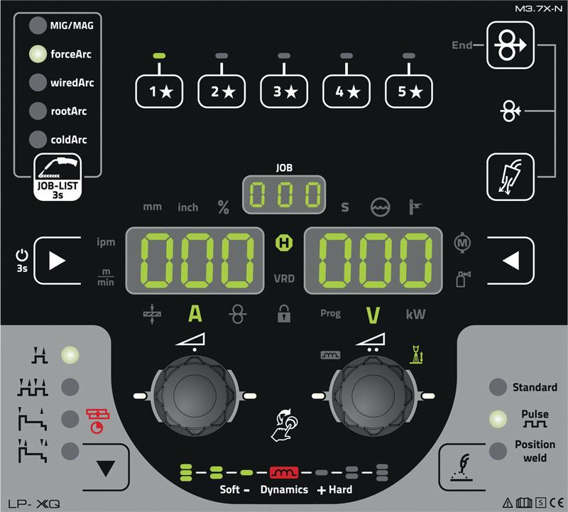 Il dispositivo di comando LP, disponibile su tutti gli apparecchi XQ, è dotato di tasti dei preferiti con cui gli utenti possono memorizzare le loro impostazioni di saldatura personalizzate.