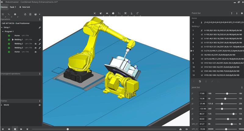 Robotmaster Interactive Simulation Environment è l'ambiente interattivo che consente una simulazione più realistica dei movimenti tra il robot e gli assi esterni.