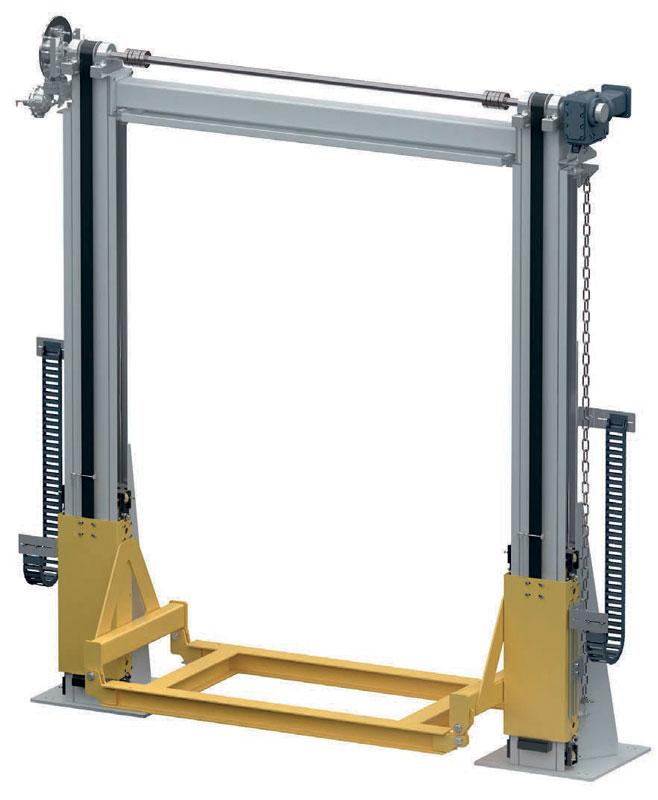 Gli elevatori a cinghia WINKEL sono disponibili nelle versioni a singola o doppia colonna, consentono velocità elevate e sollevano carichi fino a 6.000 kg. Gli elevatori sono disponibili anche con catena di sollevamento per velocità fino a 2 m/s e portate fino a 6.000 kg.