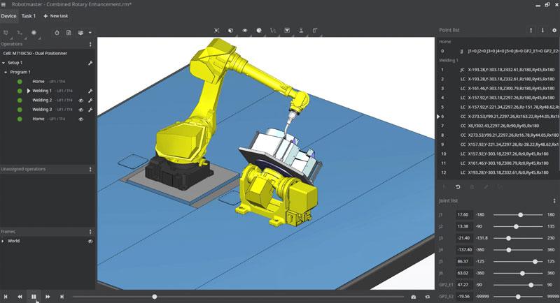 Robotmaster Interactive Simulation Environment è l'ambiente interattivo di Hypertherm che consente una simulazione più realistica dei movimenti tra il robot e gli assi esterni.