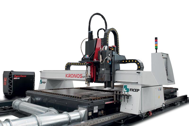 Sistema di taglio plasma, ossitaglio e foratura Ficep Kronos HP.