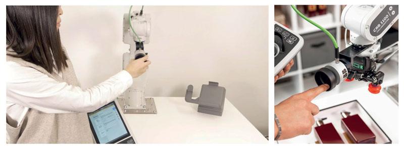 Su tutte e tre le famiglie di cobot la funzione lead trough, permette di prendere il robot e trascinarlo facilmente insegnando quindi i punti della traiettoria.