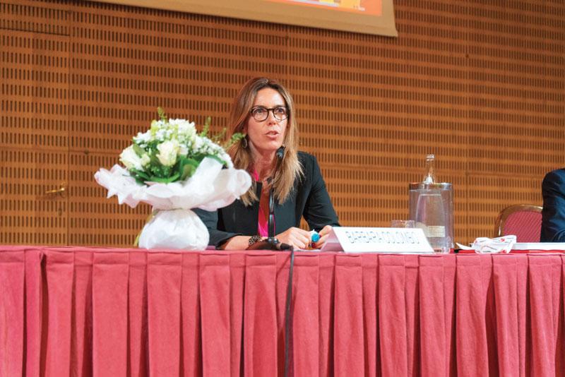 Il Presidente Barbara Colombo in occasione dell'annuale assemblea dei soci UCIMU di ieri pomeriggio.