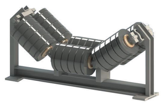 Conveyor belt rollers in a conveyor belt system.