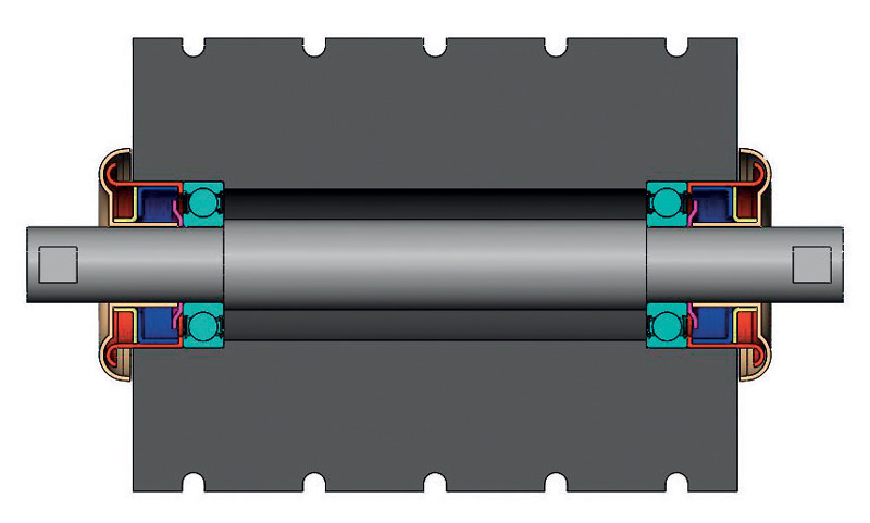 Bearing concept for conveyor belt rollers.