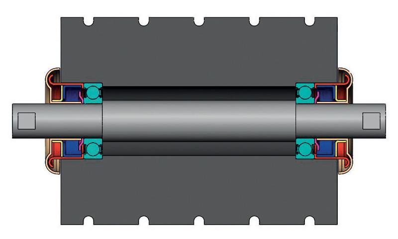 Soluzione di stoccaggio per rulli di nastri trasportatori.
