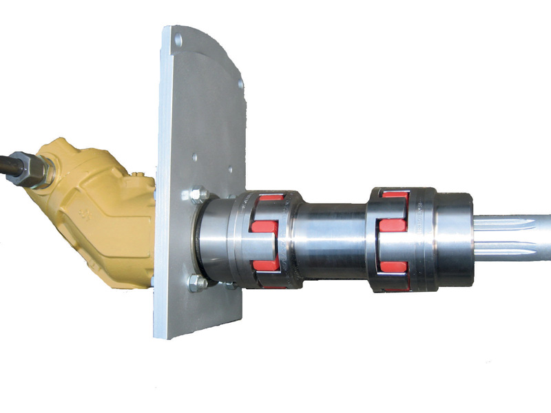 Rotex® coupling with a standard grooved profile for use in conjunction with a power take-off.