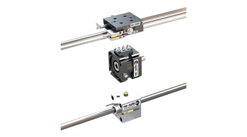 Dall'alto verso il basso: Freno NexSafe per il montaggio su guide profilate di assi lineari; servofreno NexSafe per il montaggio tra servomotore e riduttore; bloccastelo NexSafe per il montaggio con o su cilindri pneumatici.