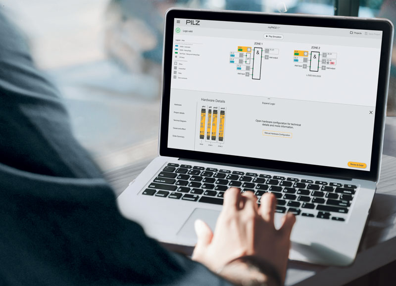 """With the innovative safety relay myPNOZ, Pilz has set a milestone with regard to digitisation in industry: it enables Pilz to offer safe solutions, which are available to customers in accordance with """"their"""" specific individual batch size 1 requirements."""