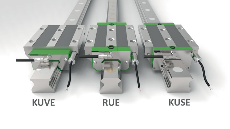 Schaeffler's complete DuraSense range for monitoring lubrication conditions and for the automated requirements-based relubrication of INA monorail guidance systems (KUVE four-row linear recirculating ball bearing and guideway assemblies, RUE linear recirculating roller bearing and guideway assemblies, and KUSE six-row linear recirculating ball bearing and guideway assemblies).