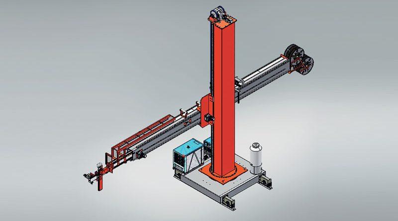 Le grandi macchine saldatrici hanno una concezione a colonna e braccio (boom).