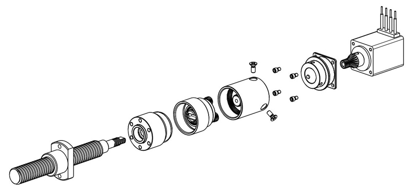 Exploded drawing of the new actuator.