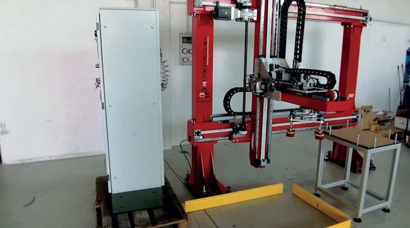 Il gripper con le ventose B75 in silicone e gli eiettori mini COAX® di Piab montato nel sistema di palletizzazione Mini Open di Robotecnik.