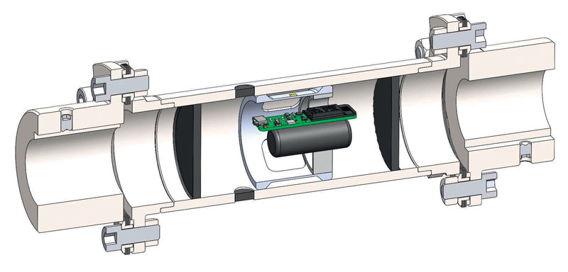 Simplified section of the AIC coupling with integrated sensor.