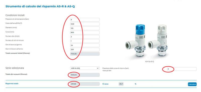 Figura 2: Strumento di calcolo del risparmio AS-R & AS-Q.