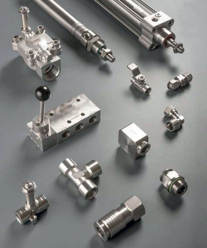 Aignep's range of stainless steel components.