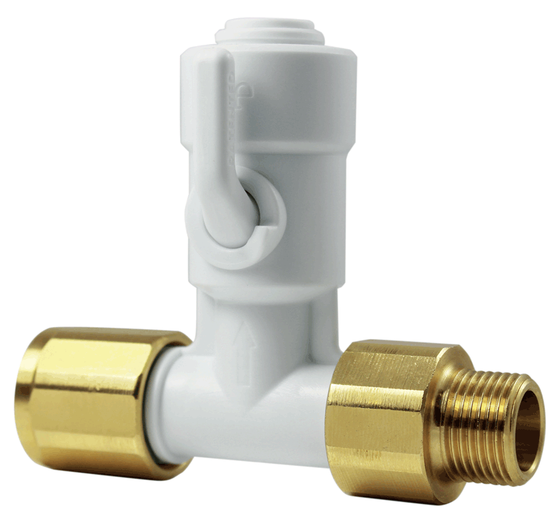 T-series shut-off valves from John Guest, made of Acetal Resin with EPDM O-rings, suitable wfor use with potable water, are highly resistant, corrosion and contamination proof.