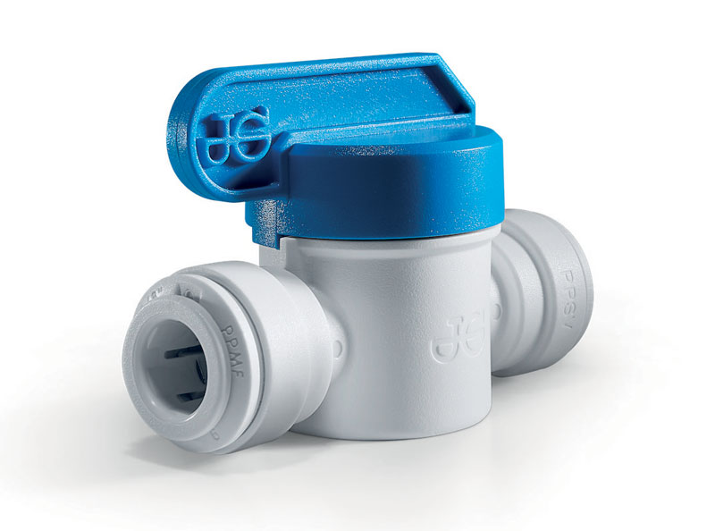PP-series Polyopropylene shut-off valves. Polypropylene has the advantage of being chemically stronger than acetal resin. These valves are suitable for use with drinking water.