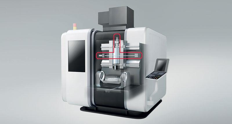 La richiesta di macchine utensili con prestazioni ad alta precisione trova risposta nei progressi delle viti a ricircolazione di sfere di NSK, la cui posizione è evidenziata nell'immagine dai contorni rossi.